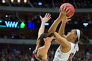 South Carolina Gamecocks guard Allisha Gray #10 drives to the basket against the /TEAM during the NCAA Women's Championship game at the American Airlines Center in Dallas, Texas on April 2, 2017.  (Cooper Neill for The Players Tribune)