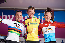 A Boels Dolmans clean sweep of the GC podium: Amy Pieters (NED), Chantal Blaak (NED) and Christine Majerus (LUX) at Healthy Ageing Tour 2018 - Stage 5, a 94.3 km road race in Groningen on April 8, 2018. Photo by Sean Robinson/Velofocus.com