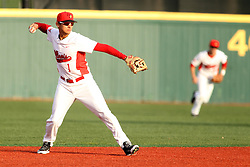 21 April 2015:  Dennis Colon readies to rifle a throw to first base  during an NCAA Inter-Division Baseball game between the Illinois Wesleyan Titans and the Illinois State Redbirds in Duffy Bass Field, Normal IL