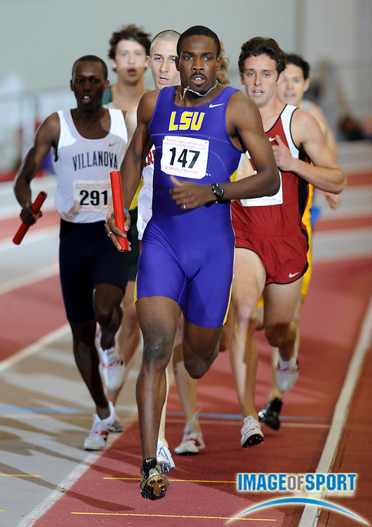 Mar 14, 2008; Fayetteville, AR, USA; Jamal James runs the 800m leg on LSU distance medley relay that placed sixth in 9:35.72 in the NCAA indoor track and field championships at the Randal Tyson Center.