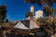 Turkey, Antalya Province, Olympos National Park, Cape Gelidonya. The lighthouse Backpackers tent