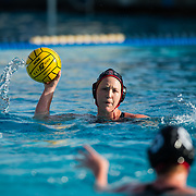 11 February 2018: The San Diego State  women's water polo team competes in day two of the Triton Invitation on the campus of UCSD. San Diego State Aztecs utility Courtney Jarvis (2) looks to pass the ball in the first quarter. The Aztecs took on the #23 CSUN Matadors Sunday morning and came away with a 8-5 win.<br /> More game action at www.sdsuaztecphotos.com