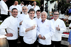 Left to right, ALAIN ROUX, PIERRE KOFFMAN, MARK DODSON, RUSSELL HOLBORN, MICHEL ROUX and CHRISTIAN GERMAIN all ex-head chefs of The Waterside Inn at a party to celebrate The Waterside Inn's 25 years as a 3 star Michelin restaurant held at The Waterside Inn, Bray, Berkshire on 18th May 2010.
