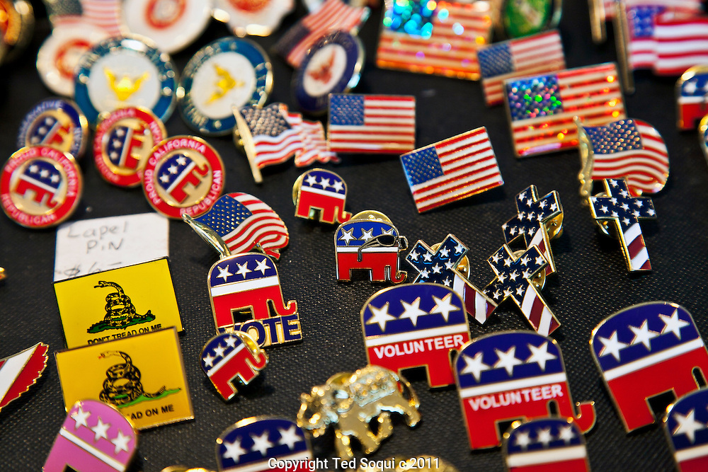 Lapel pins for sale at the convention..Scenes from the California Republican Convention held at the Marriott hotel in downtown L.A.