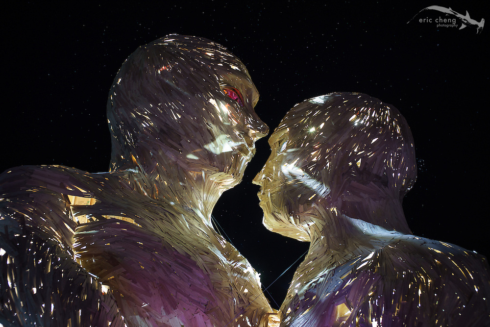 Embrace, at night. Burning Man 2014.