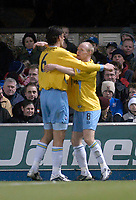 Photo. Glyn Thomas.<br /> Ipswich Town v Crystal Palace. Division 1. <br /> Portman Road, Ipswich. 28/12/2003.<br /> Palace's Andrew Johnson (R) is congratulated by Tony Popovic after scoring the first of his two goals.