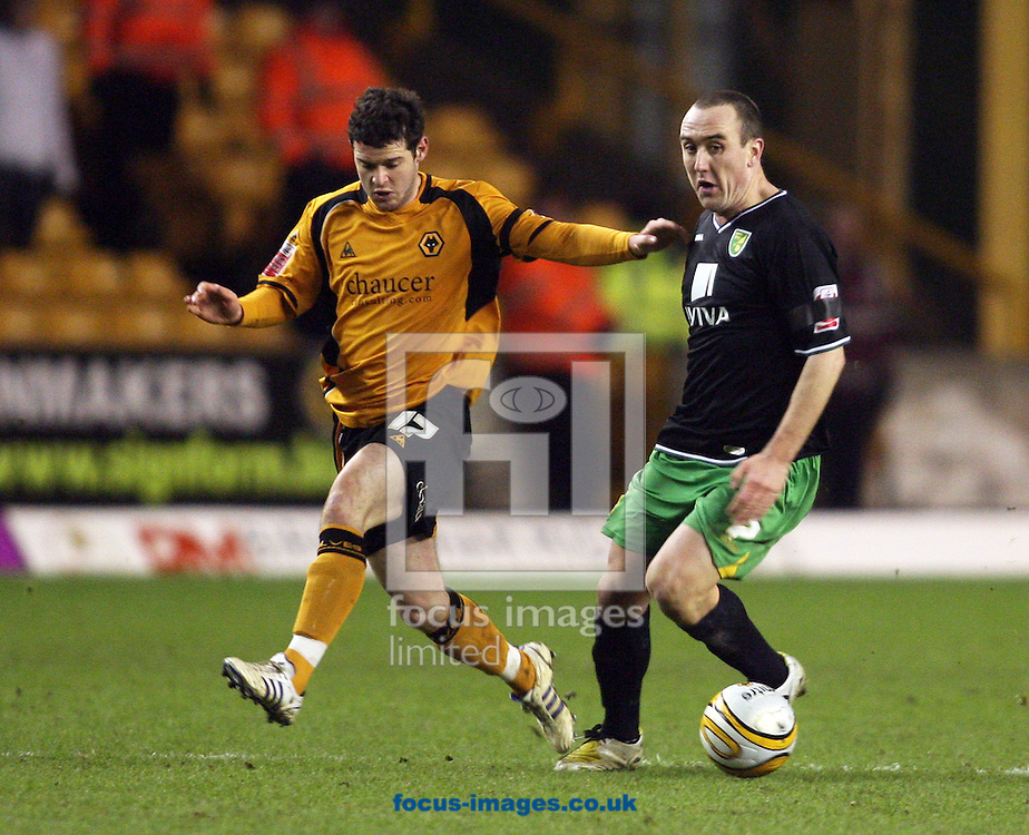 Wolverhampton - Tuesday February 3rd, 2009: Matt Jarvis of Wolverhampton Wanderers and Lee Croft of Norwich City during the Coca Cola Championship match at Molineaux, Wolverhampton. (Pic by Chris Ratcliffe/Focus Images)