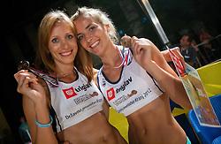 Third placed Tamara Borko and Sara Sakovic after the women final match of Slovenian National Championship in beach volleyball Kranj 2012, on June 30, 2012 in Kranj, Slovenia. (Photo by Vid Ponikvar / Sportida.com)