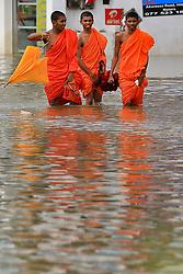 Sri Lankan novice monks walk across the Southern Expressway at Godagama, Matara, southern part of Sri Lanka on Tuesday 30 th May 2017. (Photo by Tharaka Basnayaka/NurPhoto) *** Please Use Credit from Credit Field ***