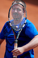Warsaw, Poland - 2016 June 04: Michal Radzimirski looks at the ball while competition for the fastest serve during 55. Tennis Polish Championships of Journalists at Legia Tennis Club June 04, 2016 in Warsaw, Poland.<br /> <br /> Adam Nurkiewicz declares that he has no rights to the image of people at the photographs of his authorship.<br /> <br /> Picture also available in RAW (NEF) or TIFF format on special request.<br /> <br /> Any editorial, commercial or promotional use requires written permission from the author of image.<br /> <br /> Mandatory credit:<br /> Photo by © Adam Nurkiewicz