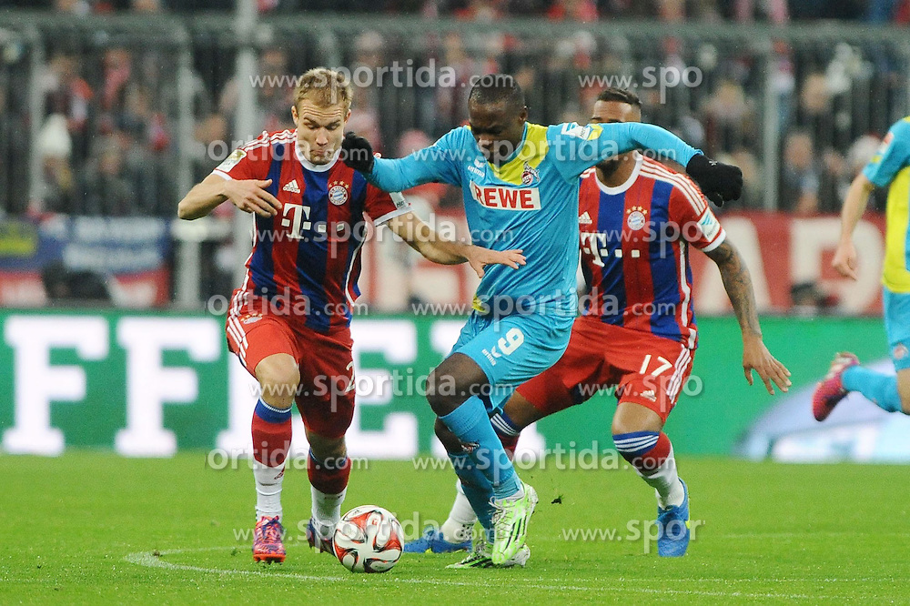 27.02.2015, Allianz Arena, Muenchen, GER, 1. FBL, FC Bayern Muenchen vs 1. FC K&ouml;ln, 23. Runde, im Bild vl. Holger Badstuber (FC Bayern Muenchen), Anthony Ujah (1.FC Koeln) und Jerome Boateng (FC Bayern Muenchen) // during the German Bundesliga 23rd round match between FC Bayern Munich and 1. FC K&ouml;ln at the Allianz Arena in Muenchen, Germany on 2015/02/27. EXPA Pictures &copy; 2015, PhotoCredit: EXPA/ Eibner-Pressefoto/ Stuetzle<br /> <br /> *****ATTENTION - OUT of GER*****