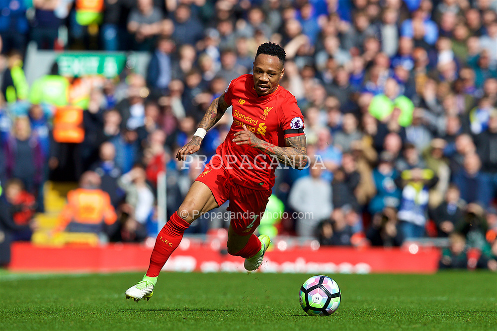 LIVERPOOL, ENGLAND - Saturday, April 1, 2017: Liverpool's Nathaniel Clyne in action against Everton during the FA Premier League match, the 228th Merseyside Derby, at Anfield. (Pic by David Rawcliffe/Propaganda)