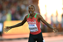 Elijah Manangoi of Kenya celebrates his first place finish - Mandatory byline: Patrick Khachfe/JMP - 07966 386802 - 13/08/2017 - ATHLETICS - London Stadium - London, England - Men's 1500m Final - IAAF World Championships
