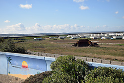 Canvey Island, Essex UK - holiday village with flood protection wall