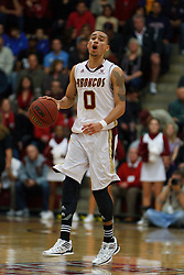 Jan 21, 2012; Santa Clara CA, USA;  Santa Clara Broncos guard Evan Roquemore (0) dribbles the ball against the St. Mary's Gaels during the first half at the Leavey Center.  Mandatory Credit: Jason O. Watson-US PRESSWIRE