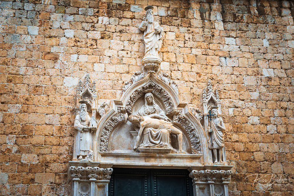 Entrance to the Franciscan Monastery, old town Dubrovnik, Dalmatian Coast, Croatia