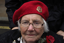Lucy Wilkinson, 86, who was with the Belgian resistance movement during the Second World War attends the War Widow's Association service of remembrance at the Cenotaph in London, Saturday, 9th November 2013. Picture by Max Nash / i-Images
