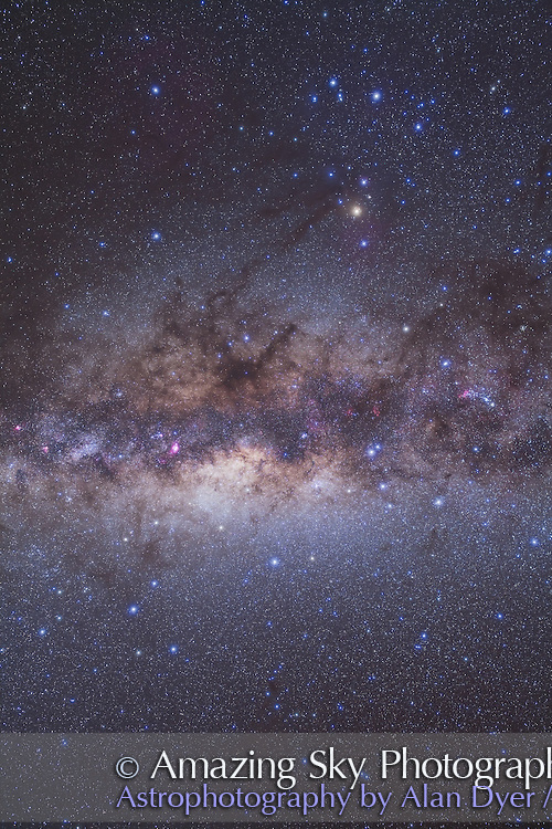 This section of the Milky Way takes in the centre of the Galaxy area in Scorpius and Sagittarius, with both constellations framed here. This is a stack of 4 x 6 minute exposures at f/4 with the 35mm Canon telephoto lens on the Canon 5D MKII. One exposure was taken thru a Kenko Softon filter to add the star glows. It was taken May 2, 2011 from Atacama Lodge in central Chile and is one segment from a 12-segment panorama along the Milky Way.