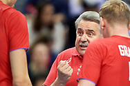 Poland, Krakow - 2017 September 03: Trainer coach Sergey Shlyapnikov from Russia speaks with players while final match between Germany and Russia  during Lotto Eurovolleyball Poland 2017 - European Championships in volleyball at Tauron Arena on September 03, 2017 in Krakow, Poland.<br /> <br /> Mandatory credit:<br /> Photo by © Adam Nurkiewicz<br /> <br /> Adam Nurkiewicz declares that he has no rights to the image of people at the photographs of his authorship.<br /> <br /> Picture also available in RAW (NEF) or TIFF format on special request.<br /> <br /> Any editorial, commercial or promotional use requires written permission from the author of image.
