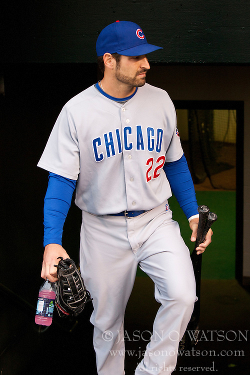August 11, 2010; San Francisco, CA, USA;  Chicago Cubs right fielder Xavier Nady (22) enters the dugout before the game against the San Francisco Giants at AT&T Park.  San Francisco defeated Chicago 5-4. Mandatory Credit: Jason O. Watson-US PRESSWIRE