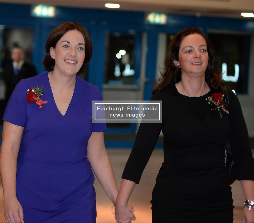 Scottish Labour leader Kezia Dugdale arrives at the count in Edinburgh with her partner.<br /> © Dave Johnston/ EEm