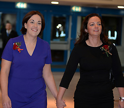 Scottish Labour leader Kezia Dugdale arrives at the count in Edinburgh with her partner.<br /> © Dave Johnston/ EEm