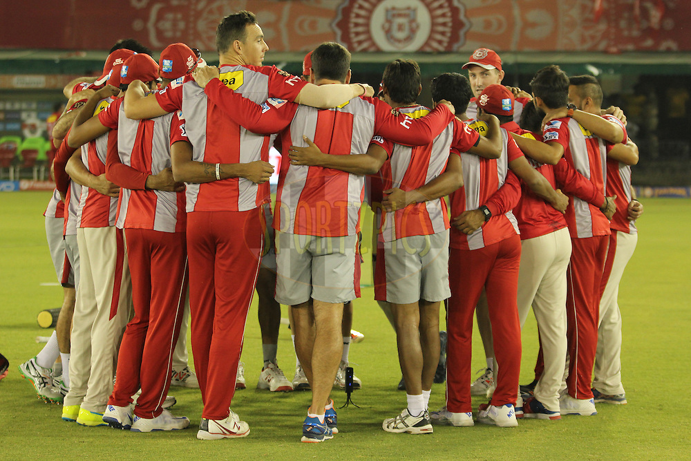 Kings XI Punjab players during warmup before match 13 of the Vivo Indian Premier League ( IPL ) 2016 between the Kings XI Punjab and the Kolkata Knight Riders held at the IS Bindra Stadium, Mohali, India on the 19th April 2016<br /> <br /> Photo by Arjun Singh / IPL/ SPORTZPICS