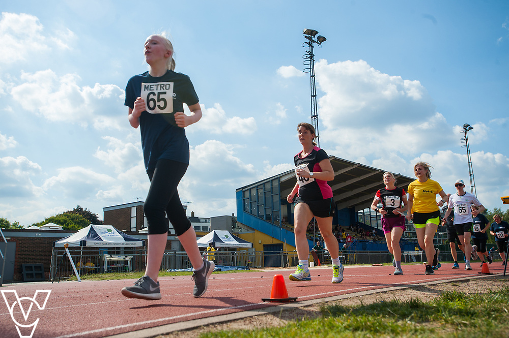 Metro Blind Sport's 2017 Athletics Open held at Mile End Stadium.  5000m.  From left, Emma Quigley, Deborah Reynolds, Lynn Cox with guide runner<br /> <br /> Picture: Chris Vaughan Photography for Metro Blind Sport<br /> Date: June 17, 2017