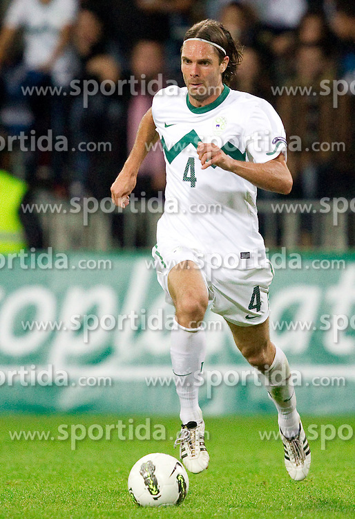 Marko Suler of Slovenia during football match between National Teams of Slovenia and Serbia of UEFA Euro 2012 Qualifying Round in Group C on October 11, 2011, in Stadium Ljudski vrt, Maribor, Slovenia.  Slovenia defeated Serbia 1-0. (Photo by Vid Ponikvar / Sportida)