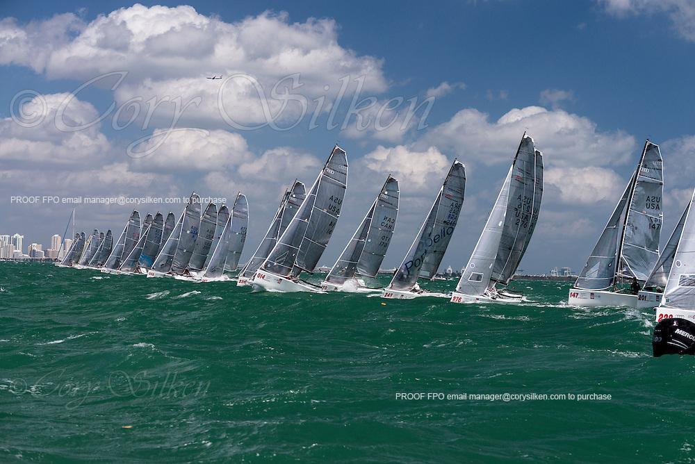 Melges 20 Class start at Bacardi Miami Sailing Week, day five.