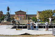 Philadelphia, Pennsylvania - September 16, 2015: Construction workers prepare the stage where Pope Francis will address thousands of people in Philadelphia during his first U.S. visit. <br /> <br /> Scott Mirkin's company ESM is heading the production of The World Meeting Of Families and Pope Francis's visit to Philadelphia this Fall. The events will take place along the Benjamin Franklin Parkway.<br /> <br /> CREDIT: Matt Roth for The New York Times<br /> Assignment ID: 30179397A