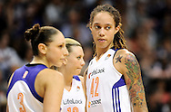Sep 21, 2013; Phoenix, AZ, USA; Phoenix Mercury center Brittney Griner (42) during the game against the Los Angeles Sparks in the first half during Game 2 of a WNBA basketball Western Conference semifinal series at US Airways Center. Mandatory Credit: Jennifer Stewart-USA TODAY Sports