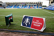 A stadium shot with the FA Cup advertising board in the foreground before the The 4th round FA Cup match between Peterborough United and Leicester City at London Road, Peterborough, England on 27 January 2018. Photo by Nigel Cole.