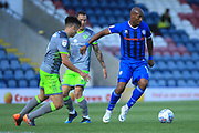 Calvin Andrew wins the ball during the EFL Sky Bet League 1 match between Rochdale and Walsall at Spotland, Rochdale, England on 25 August 2018.