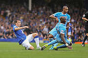 defender Eliaquim Mangala watches defender Seamus Coleman shot go over during the Barclays Premier League match between Everton and Manchester City at Goodison Park, Liverpool, England on 23 August 2015. Photo by Simon Davies.
