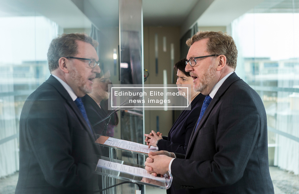 """At First Minister's Questions, Scottish Conservative leader Ruth Davidson said the party would reject the proposals set out by the SNP on Monday.<br /> <br /> Scottish Conservative leader Ruth Davidson was joined by Scotland Minister David Mundell in Edinburgh. She said, <br /> <br /> """"The Scottish Conservatives reject the proposals set out by the First Minister on Monday.<br /> <br /> """"A referendum cannot happen when the people of Scotland have not been given the opportunity to see how our new relationship with the European Union is working.<br /> <br /> """"And it should not take place when there is no clear political or public consent for it to happen.<br /> <br /> """"Our country does not want to go back to the divisions and uncertainty of the last few years.<br /> <br /> """"Another referendum campaign will not solve the challenges this country will face.<br /> <br /> """"We don't want it. We don't need it.""""<br /> <br /> <br /> Pictured: David Mundell, Ruth Davidson"""