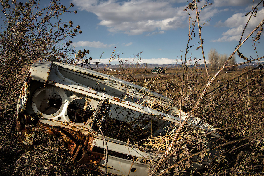 Abandoned Lada chassis in a field of Gyumri. Armenia