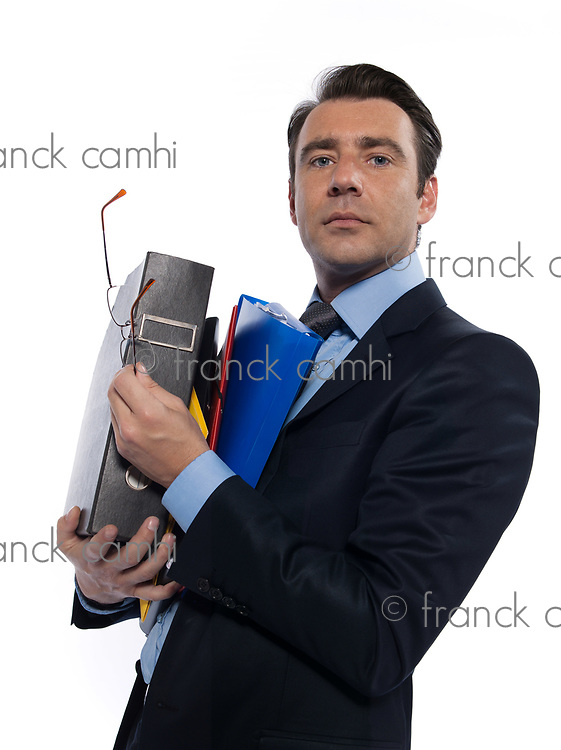 man businessman holding files confident arrogant isolated studio on white background