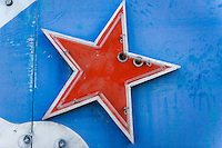Red neon star on a blue sign at the Neon Museum, Las Vegas, NV
