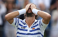 Spain's Feliciano Lopez celebrates winning the Final of the 2017 AEGON Championships at The Queen's Club, London. PRESS ASSOCIATION Photo. Picture date: Sunday June 25, 2017. See PA story TENNIS Queens. Photo credit should read: Steven Paston/PA Wire. RESTRICTIONS: Editorial use only, no commercial use without prior permission.