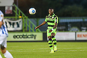 Forest Green Rovers Drissa Traore (4) plays a pass during the Gloucestershire Senior Cup match between Forest Green Rovers and Cheltenham Town at the New Lawn, Forest Green, United Kingdom on 20 September 2016. Photo by Shane Healey.