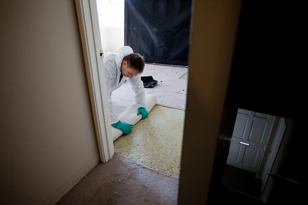 Ray Daniels removes bio-hazardous carpeting from the bedroom of a woman who had passed away several days earlier in Newport Beach, Calif. on Wednesday, Feb. 29, 2012. (photo by Gabriel Romero ©2012)
