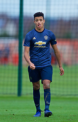 KIRKBY, ENGLAND - Saturday, January 26, 2019: Manchester United's Mason Greenwood celebrates scoring the winning third goal in extra-time during the FA Premier League match between Liverpool FC and Manchester United FC at The Academy. Manchester United won 3-2 after extra-time. (Pic by David Rawcliffe/Propaganda)