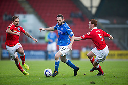 St Johnstone&rsquo;s James McFadden and Ross County's Scott Boyd.<br /> half time : St Johnstone 1 v 0 Ross County, Scottish Premiership 22/11/2014 at St Johnstone&rsquo;s home ground, McDiarmid Park.