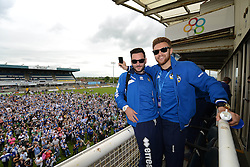 Bristol Rovers' Jake Gosling and Bristol Rovers' Matt Taylor celebrate at the Bristol Rovers celebration tour - Photo mandatory by-line: Dougie Allward/JMP - Mobile: 07966 386802 - 25/05/2015 - SPORT - Football - Bristol - Bristol Rovers Bus Tour