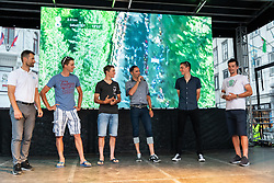 From left side: Andrej Hauptman - Coach of national cycling team of Slovenia and riders: Luka Pibernik, Borut Bozic, Matej Mohoric and Primoz Roglic during reception of slovenian rider Primoz Roglic after Tour de France 2018 on August 6, 2018 in Ljubljana, Slovenia. Photo by Urban Meglic / Sportida