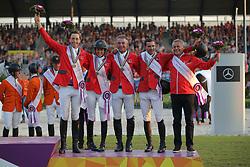 Fuchs, Martin (SUI);<br /> Sprunger, Janika (SUI);<br /> Estermann, Paul (SUI);<br /> Duguet, Romain (SUI);<br /> Kistler, Andy (SUI), <br /> Aachen - Europameisterschaften 2015<br /> Springen Finale Teamwertung<br /> © www.sportfotos-lafrentz.de/Stefan Lafrentz