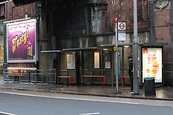 © Licensed to London News Pictures. 03/01/2015. London, UK. A bus stop outside Waterloo Station in Waterloo Road, London this morning. A murder investigation has been launched after a man died following an assault at a bus stop outside of Waterloo Station at approximately 02:45 this morning. Photo credit : Vickie Flores/LNP