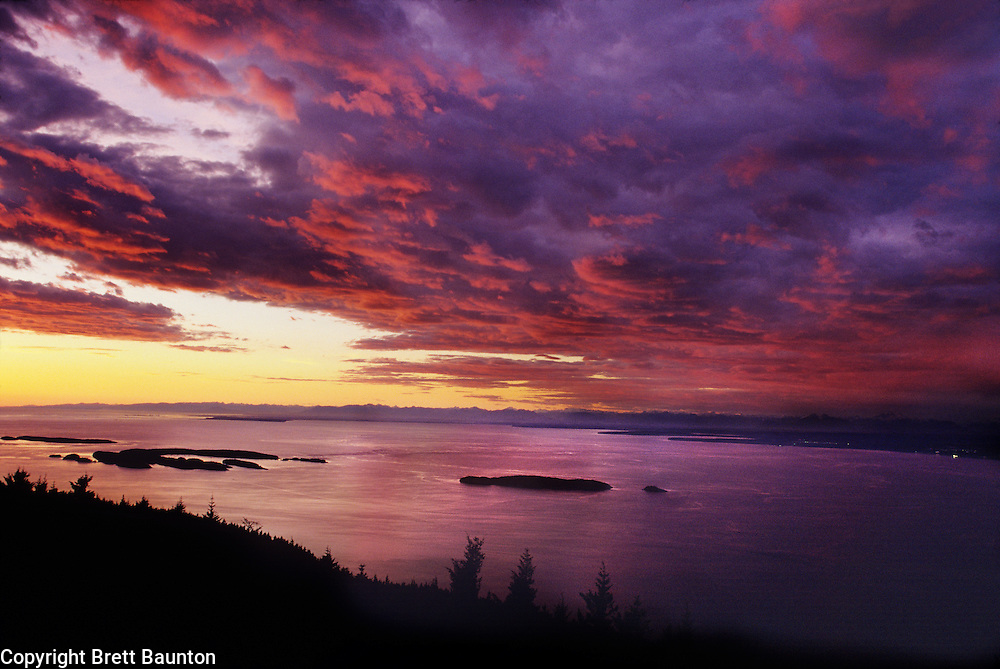 San Juan Islands, Orcas Island Sunset from Mt. Constitution, WA