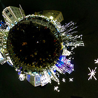 LJUBLJANA, SLOVENIA - DECEMBER 02:  (EDITOR'S NOTE: This image has been digitally altered in post) A little planet of Christmas light and decorations on the Triple Bridge on December 2, 2017 in Ljubljana, Slovenia. The traditional Christmas market and lights will stay until 1st week of January 2018.  (Photo by Marco Secchi/Getty Images)